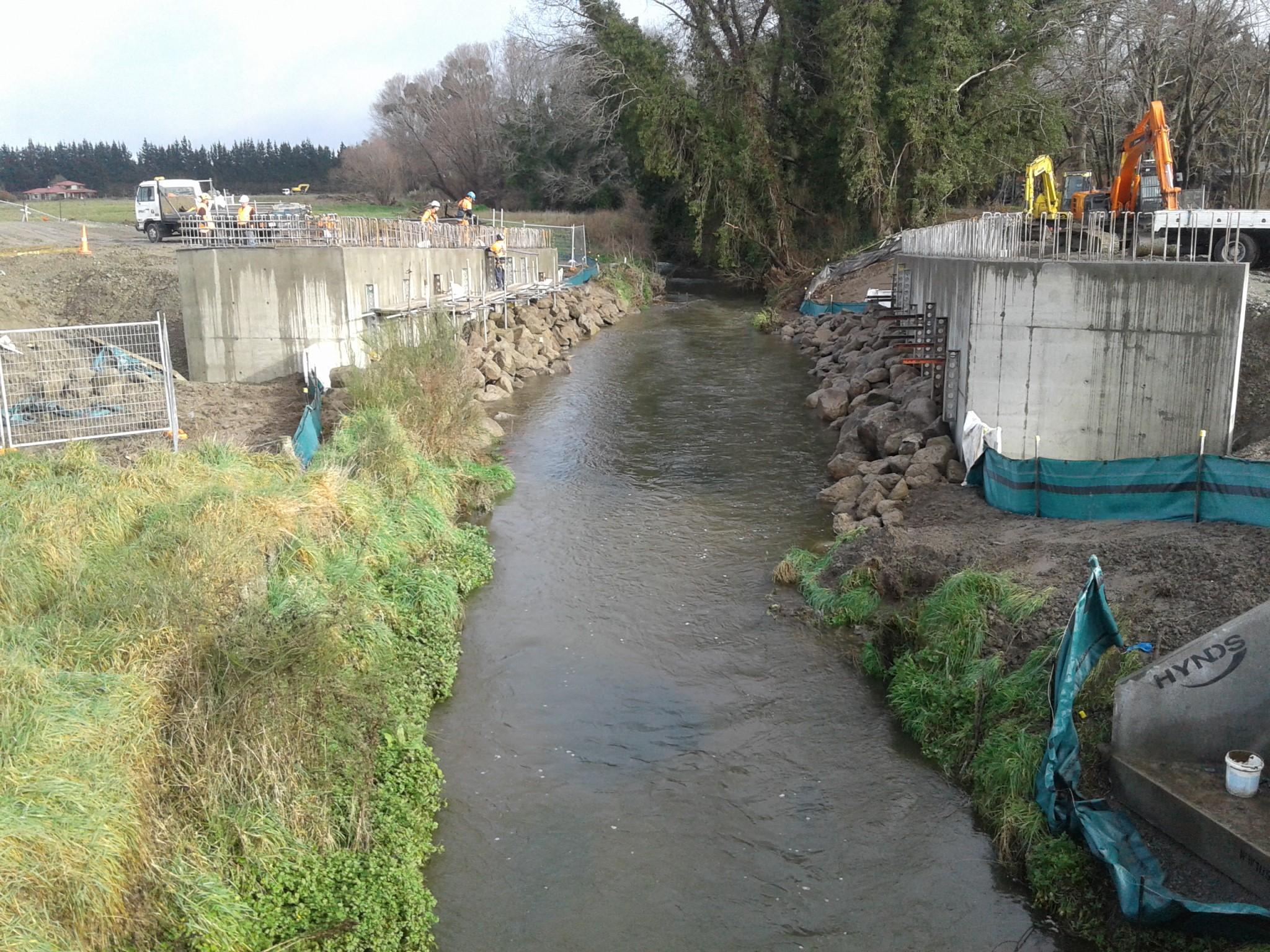 Abutments for new bridge over the Ohoka River