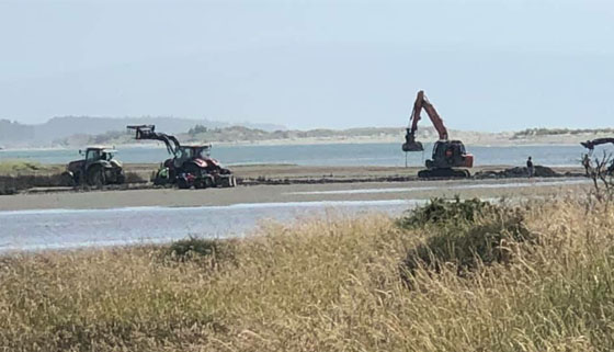 Image of heavy machinery trying to help stranded SUV in estuary