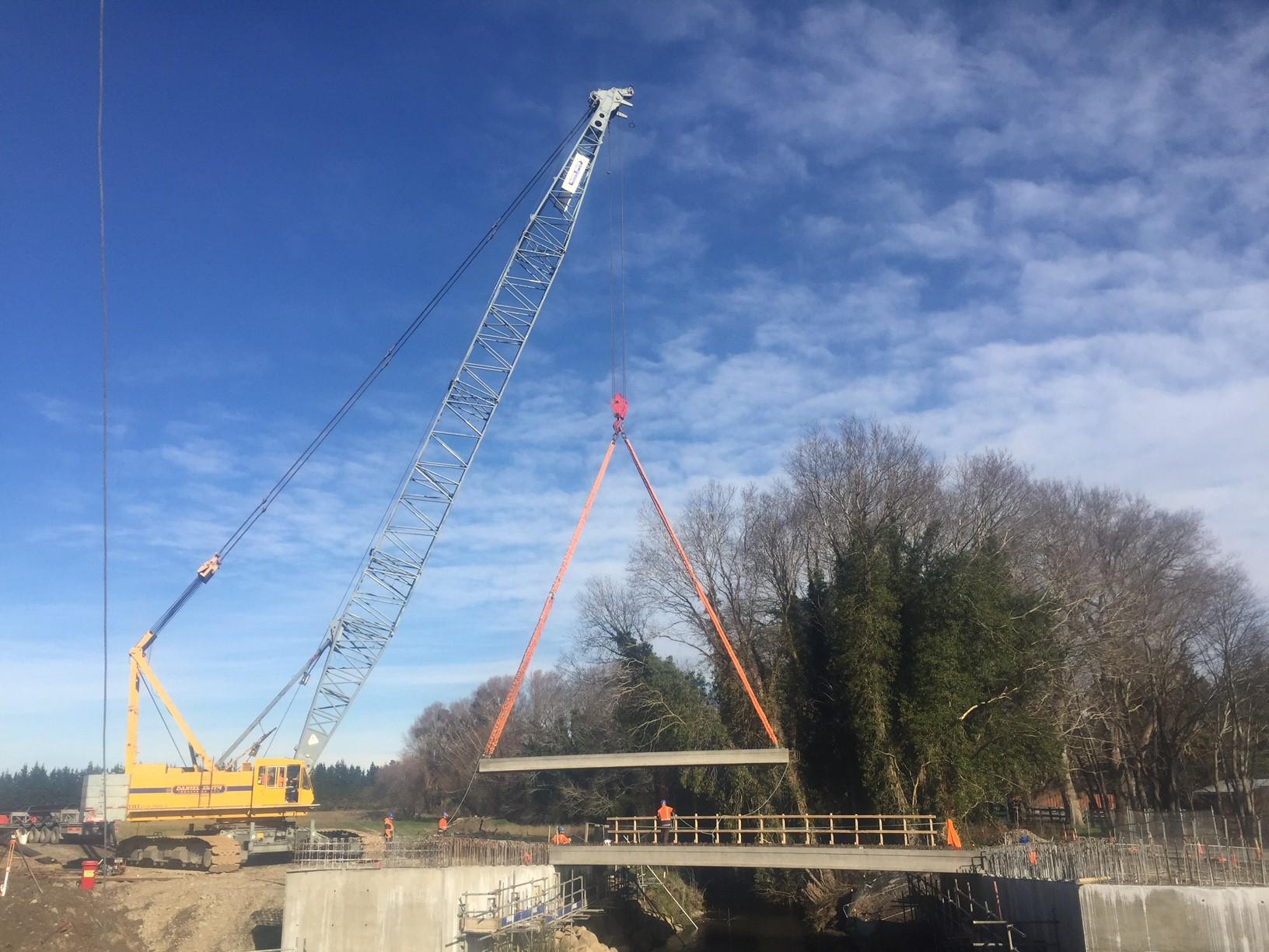 Hollowcore beams for the new bridge over the Ohoka River