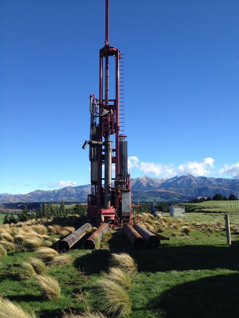 Well drilling rig at the McPhedrons Road proposed well site