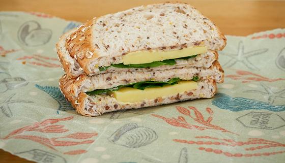 Cut sandwich in non-plastic wrap