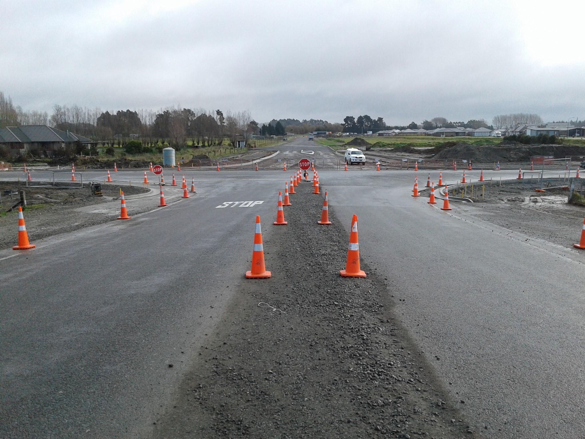 New kerb alignment at Ohoka Road intersection
