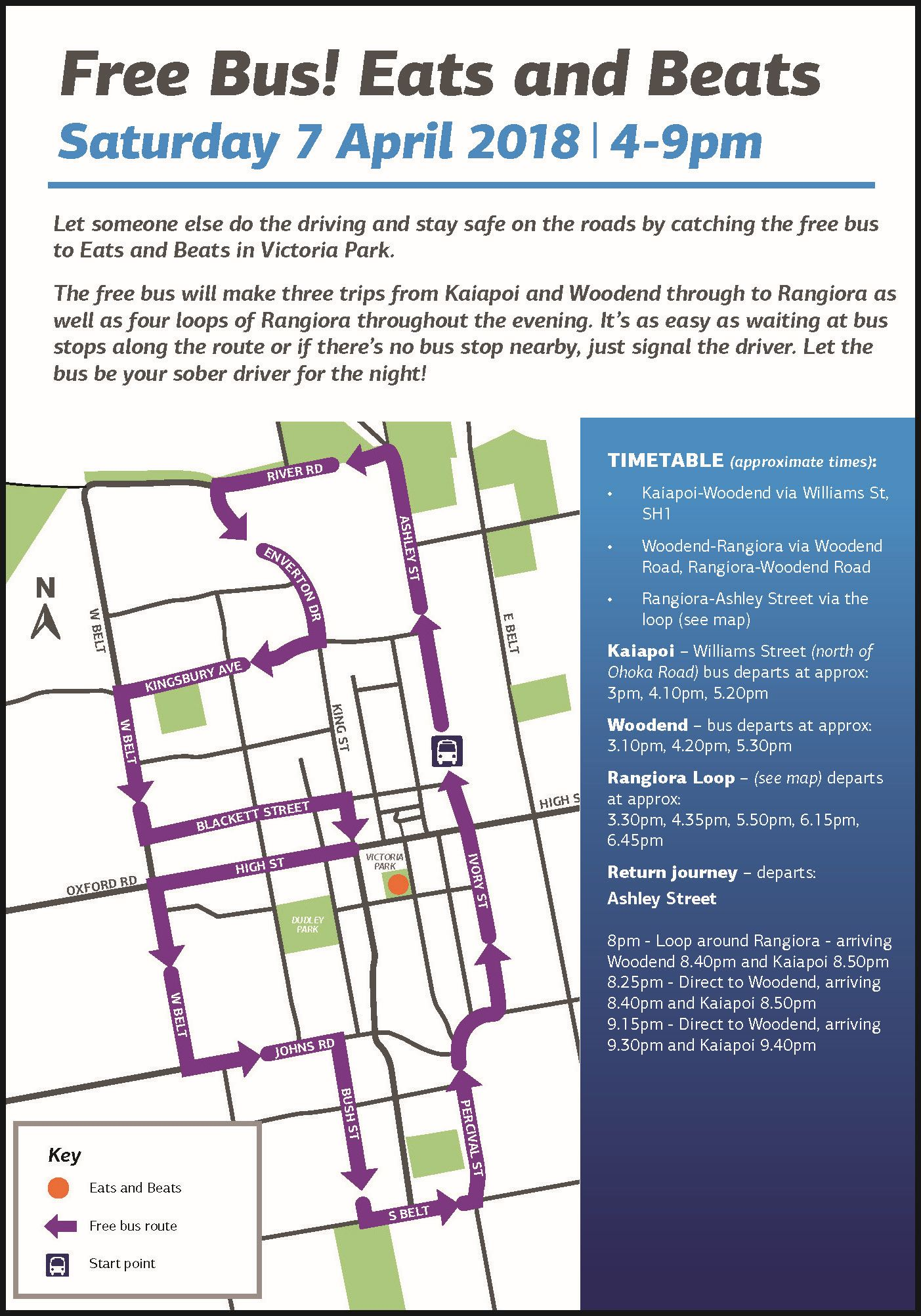 Bus route map for Eats and Beats