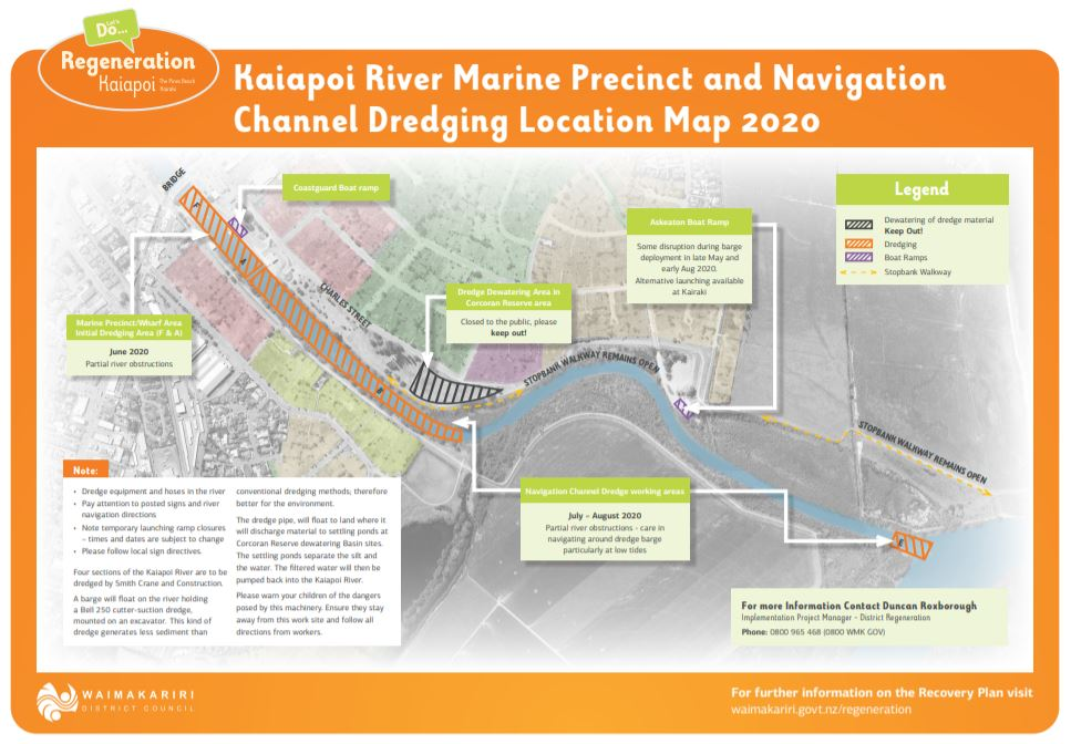Channel Dredging Location Map for Kaiapoi River Marine Precinct