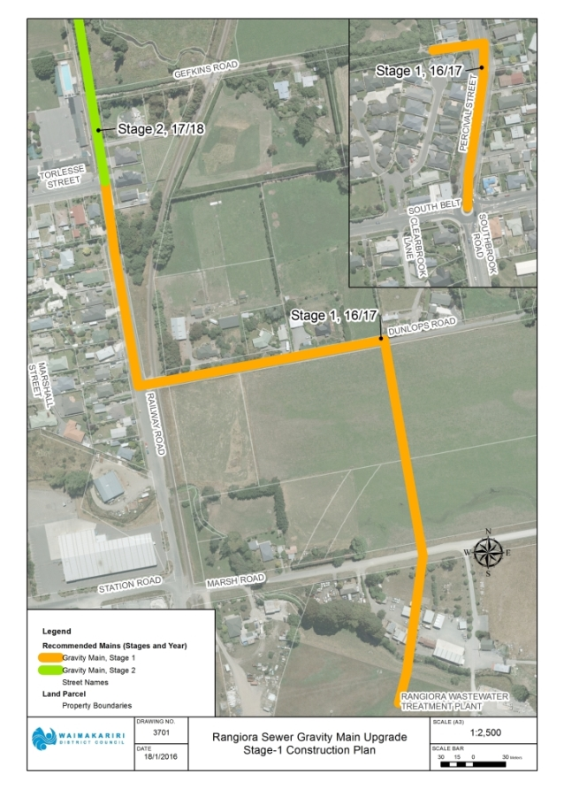 Map of Rangiora wastewater upgrade stage 1