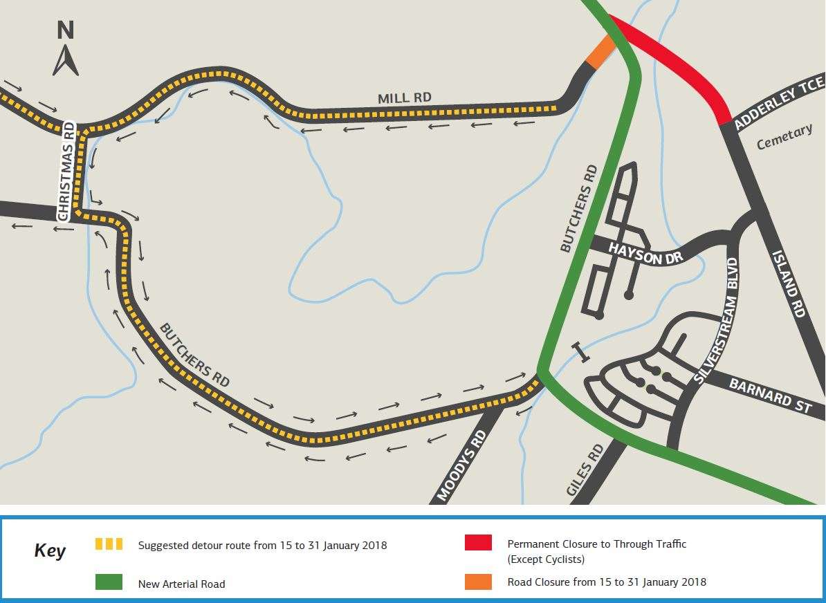 Detour Route Map showing detour for Mill Road traffic