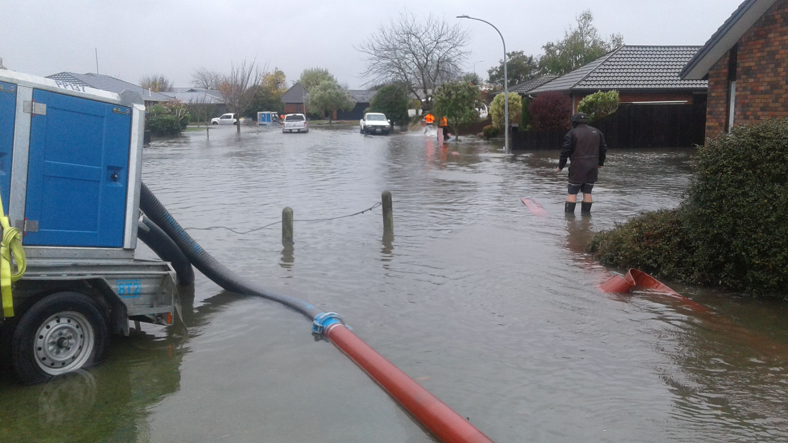Image of the flooding in Kiln Place, Kaiapoi, June 2019
