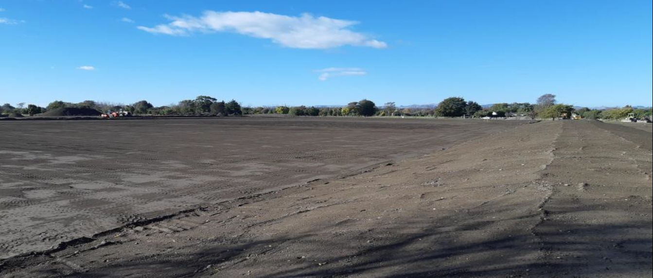 Image of area that has been prepared for sports fields in Kaiapoi's regeneration area