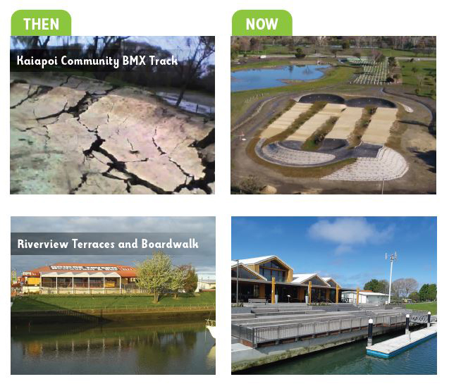 Then and now photos of Kaiapoi Community BMX Track and the Riverview Terraces and Boardwalk