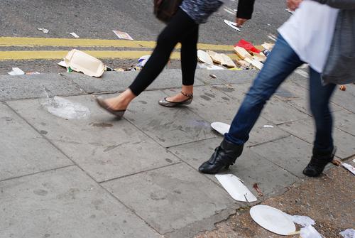 Litter on footpath