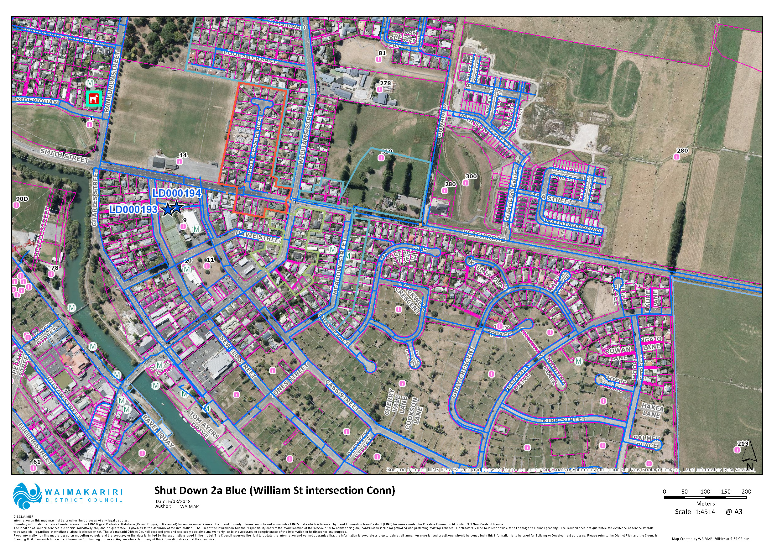 Map showing location of water shut down in Kaiapoi