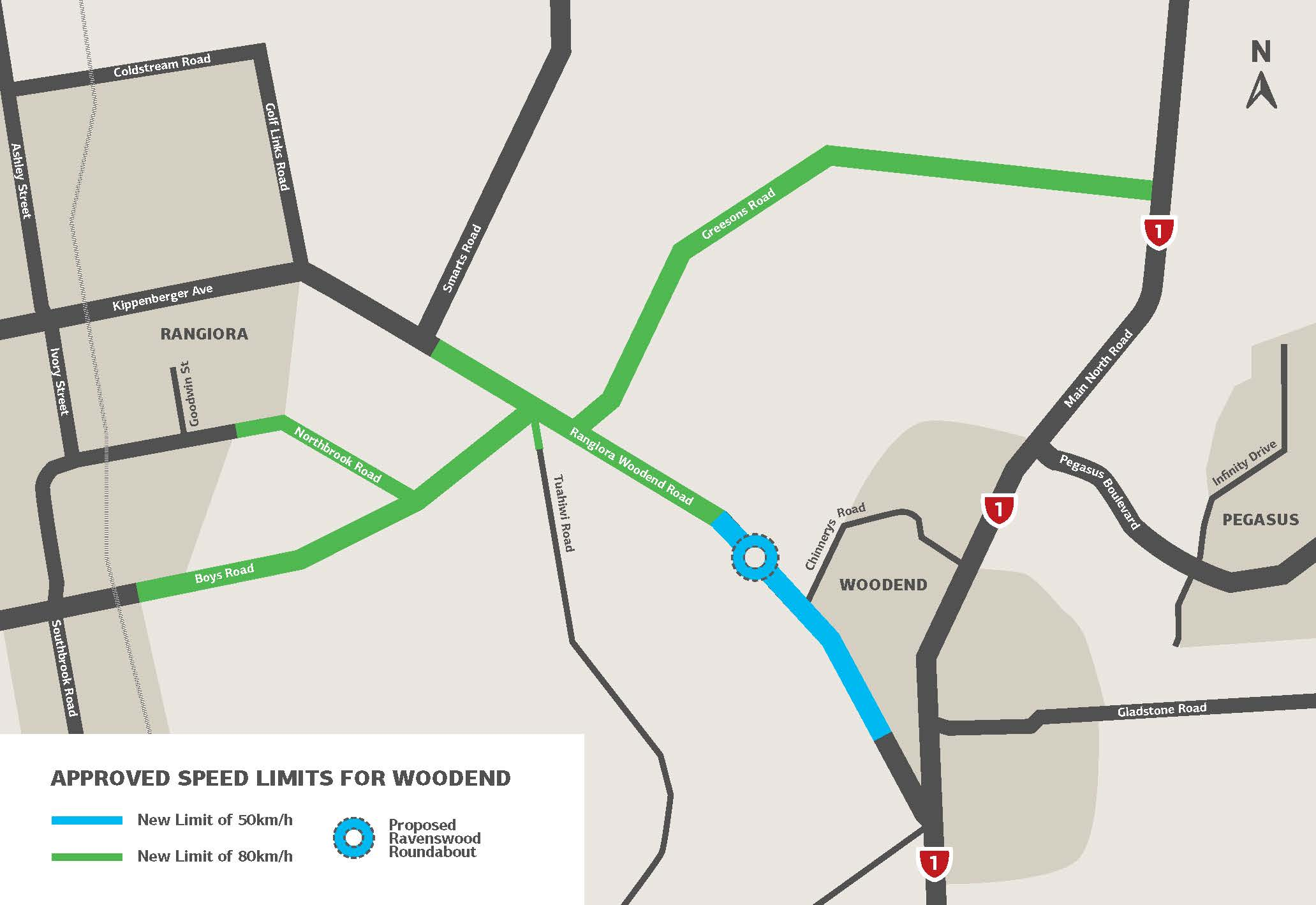 Map showing the roads between Woodend and Rangiora where reduced speeds will apply from 28th January 2018.