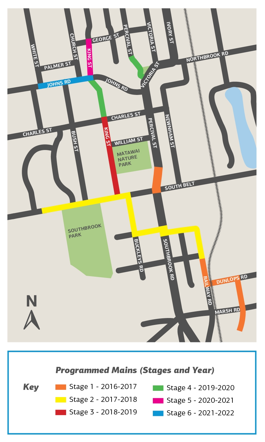 map showing route of new wastewater pipes