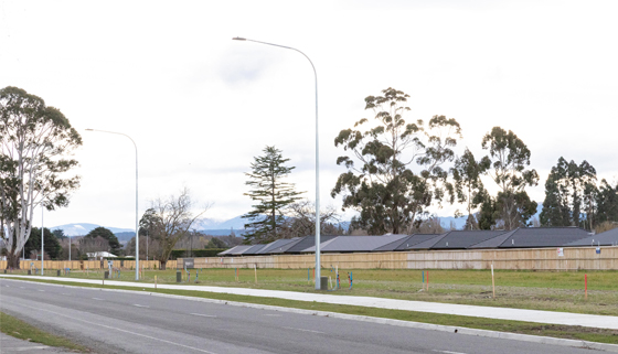 Housing lots along Rangiora Woodend Road, outside the Ravenswood subdivision