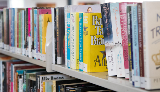 Close up image of book shelf at Rangiora Library