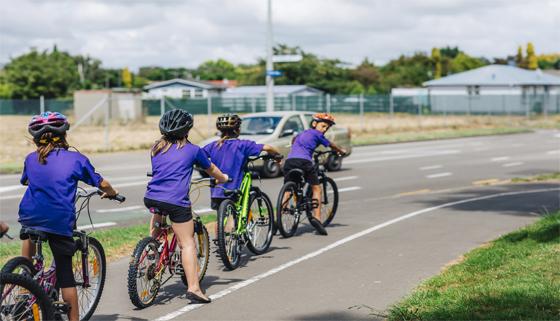 School children on bikes