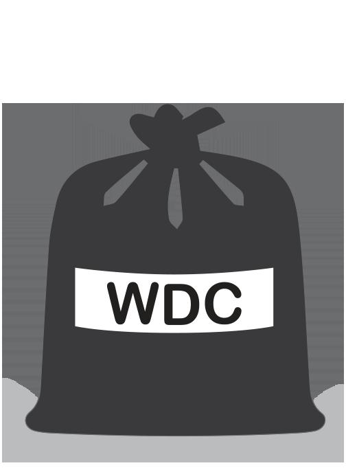 stylised black rubbish bag