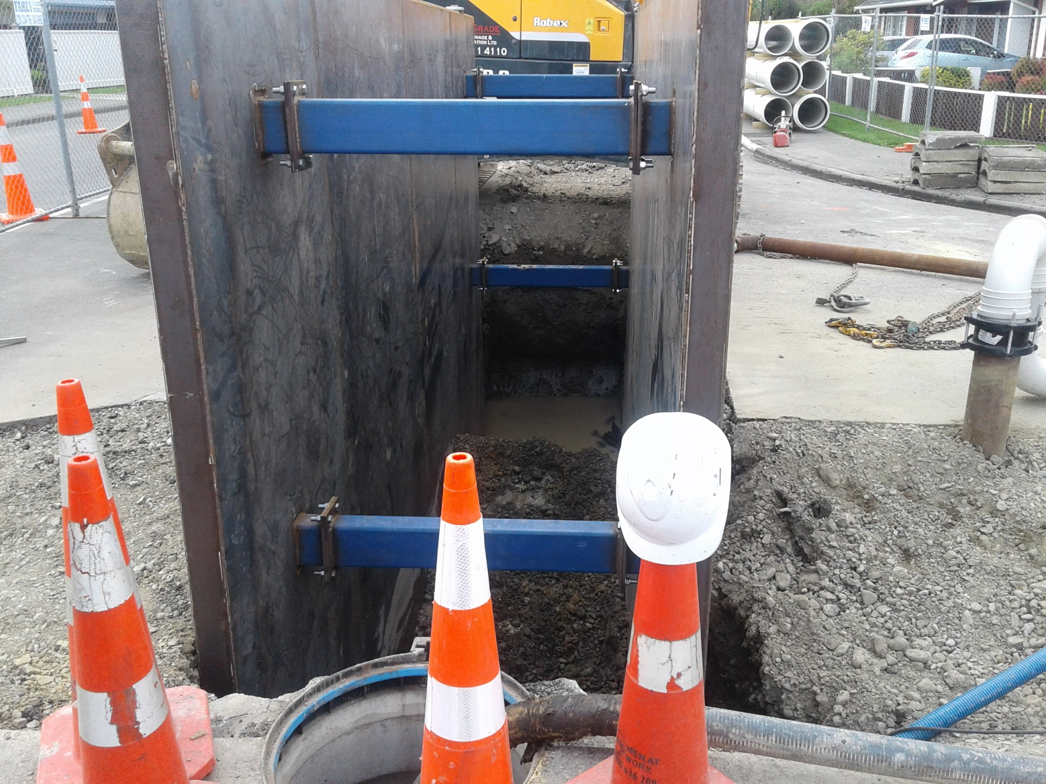 Trench shield in place on the intersection of Charles and King Street