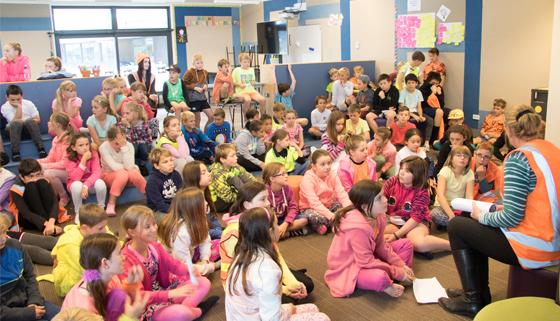 School children listening to road safety talk