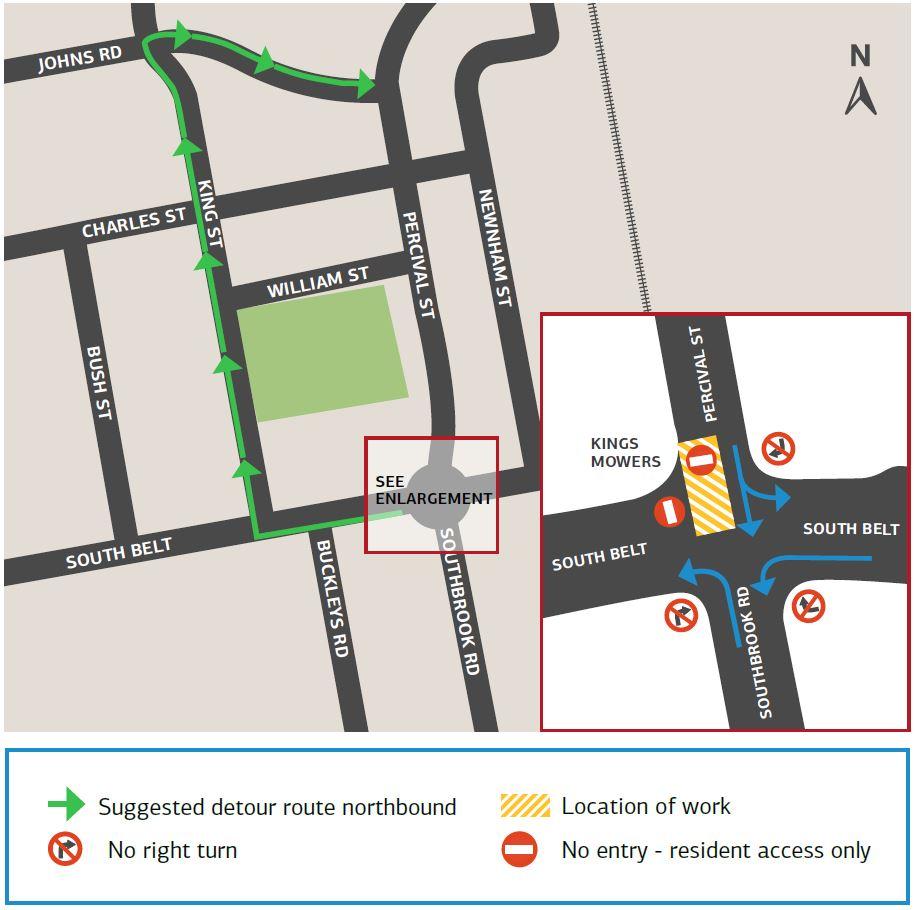 Southbrook Road detour map