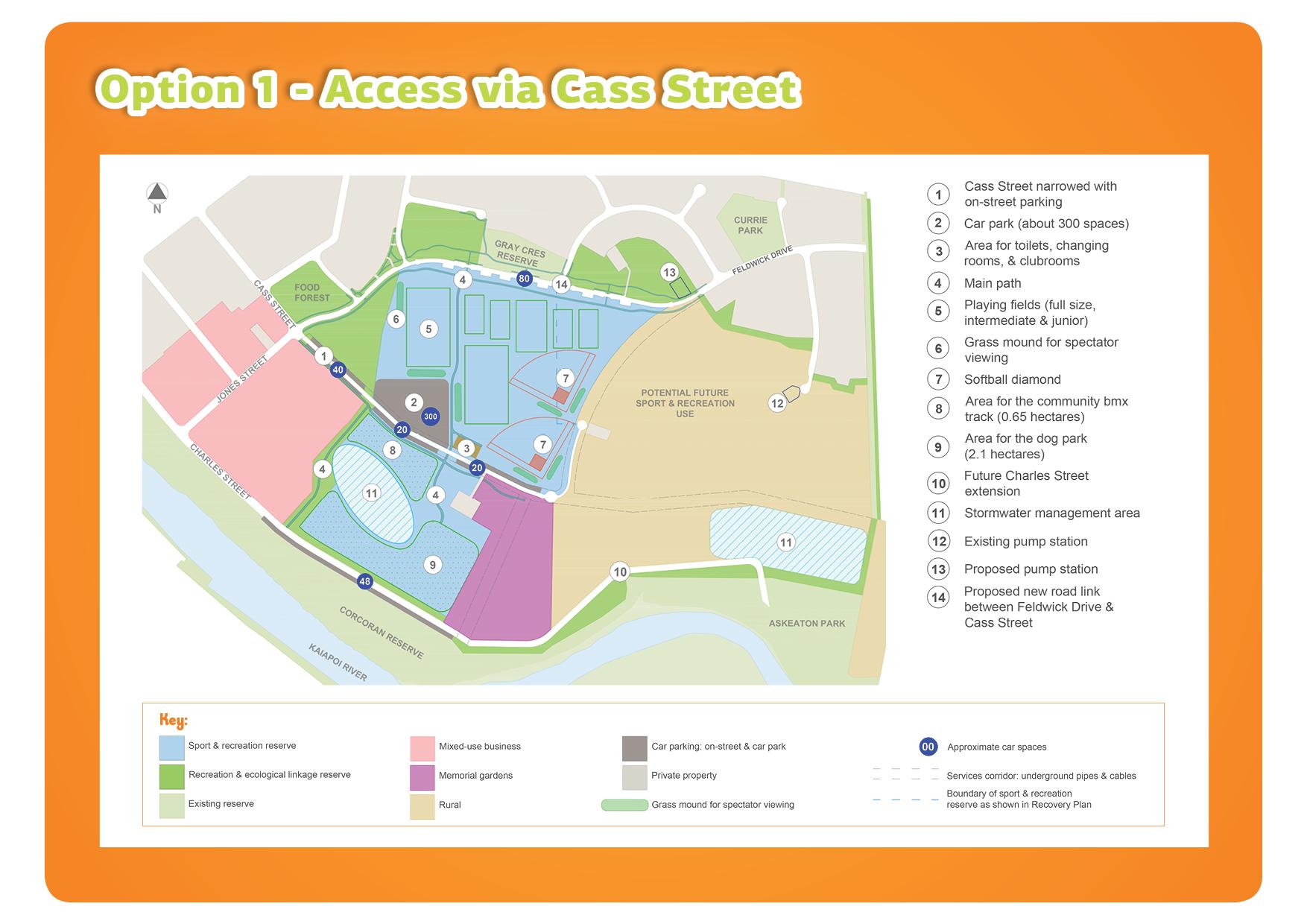 Kaiapoi East Regeneration Area - Reserve Road Access Option 1 map