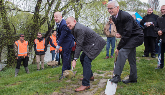 MP Matt Doocey, Mayor David Ayers and Freddy Declerck turn the first sod on the Passchendaele Memorial Cycle/Walkway