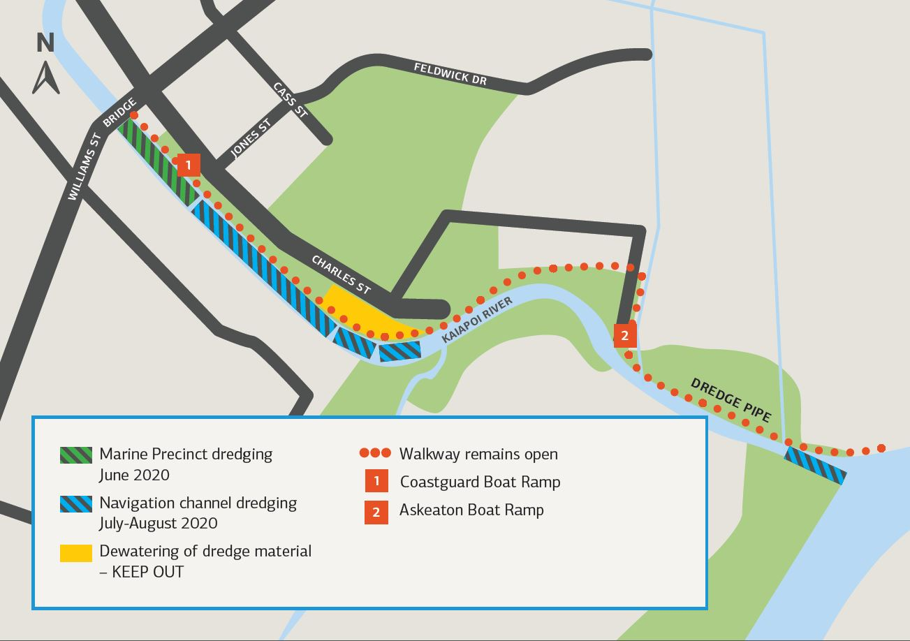 Map highlighting areas of Kaiapoi River to be dredged