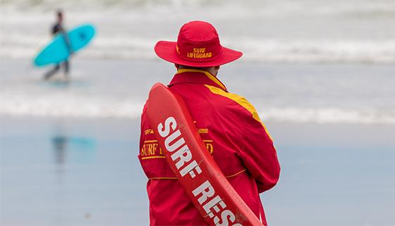 Surf Rescue Lifeguard at Waikuku Beach