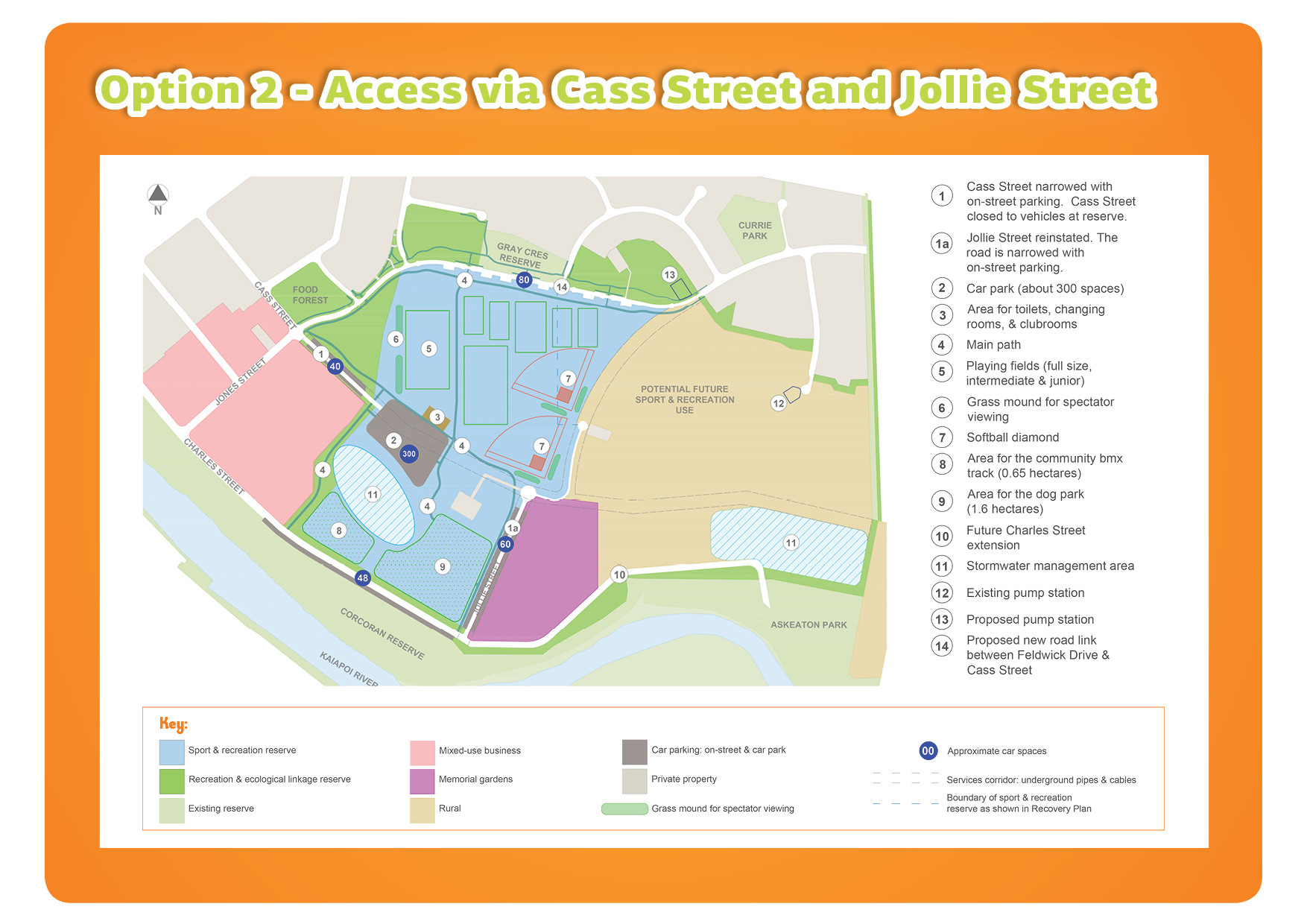 Kaiapoi East Regeneration Area - Reserve Road Access Option 2 map