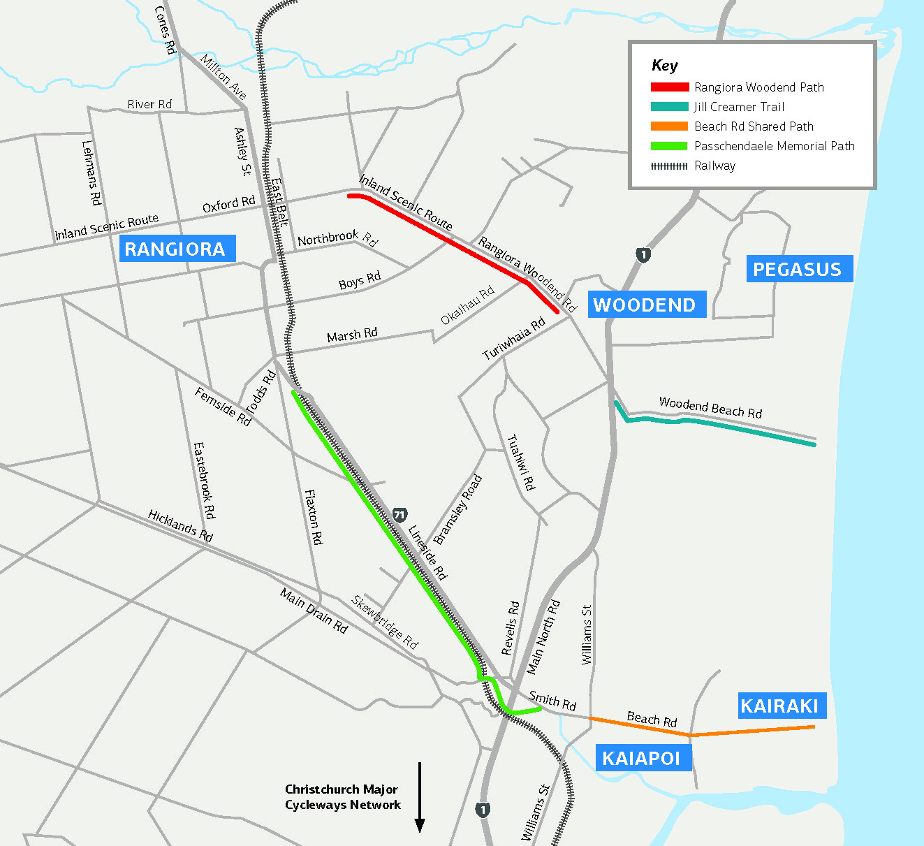Map showing shared cycling and walking paths in the district