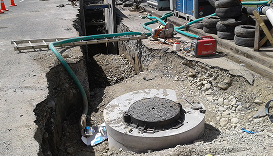Trench shield in King Street for Rangiora central sewer upgrade