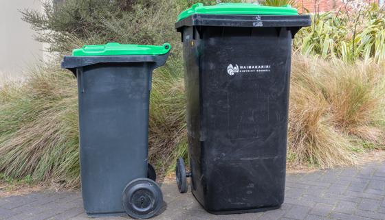An 80L and a 140L organics bin