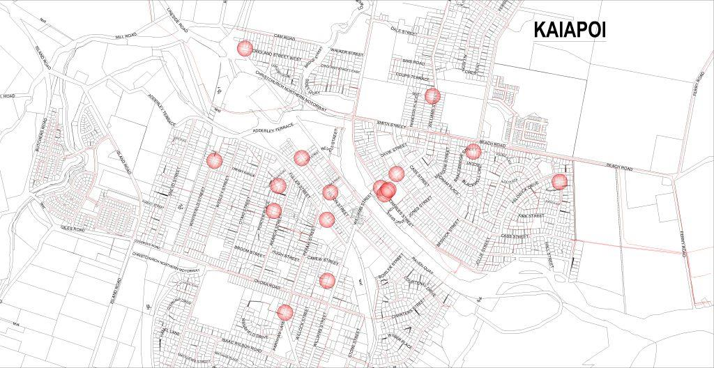 Kaiapoi sewer relining map
