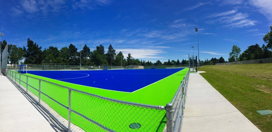 Water based artificial hockey turf in Coldstream Road in Rangiora