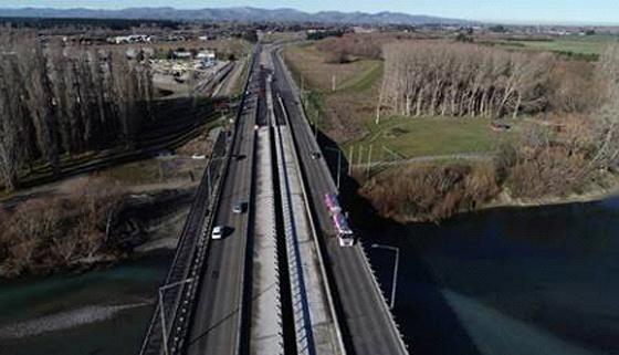 Aerial View of Christchurch Northern Corridor over the Waimakariri River Bridge