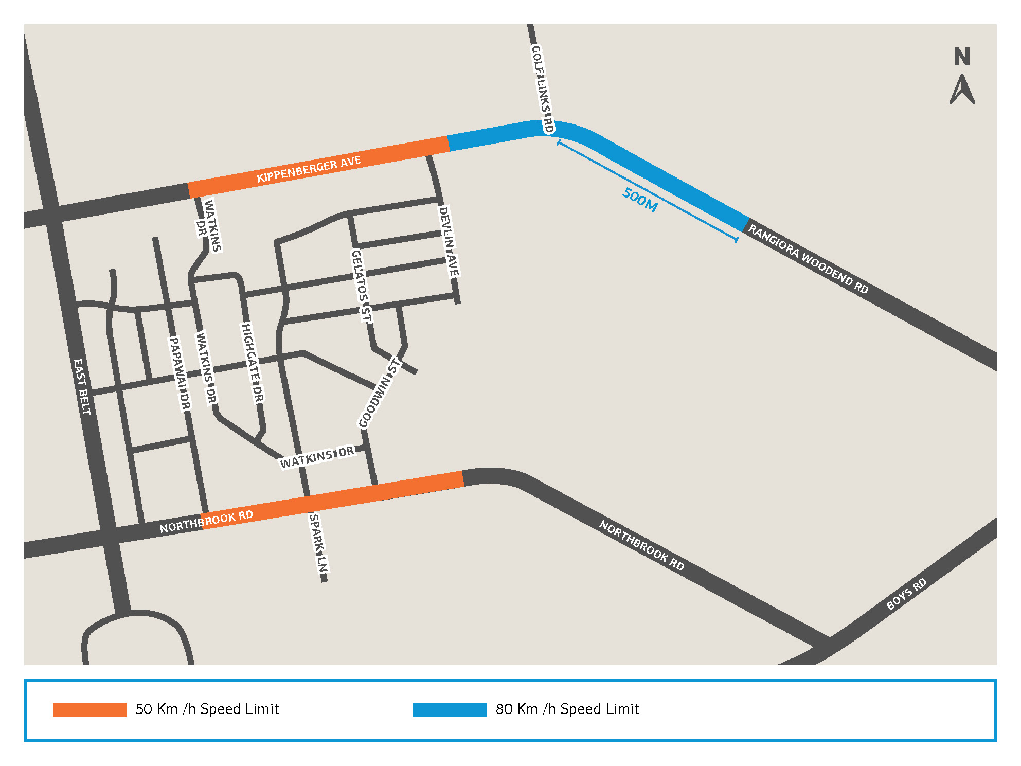 Map showing changed speed limits in Rangiora