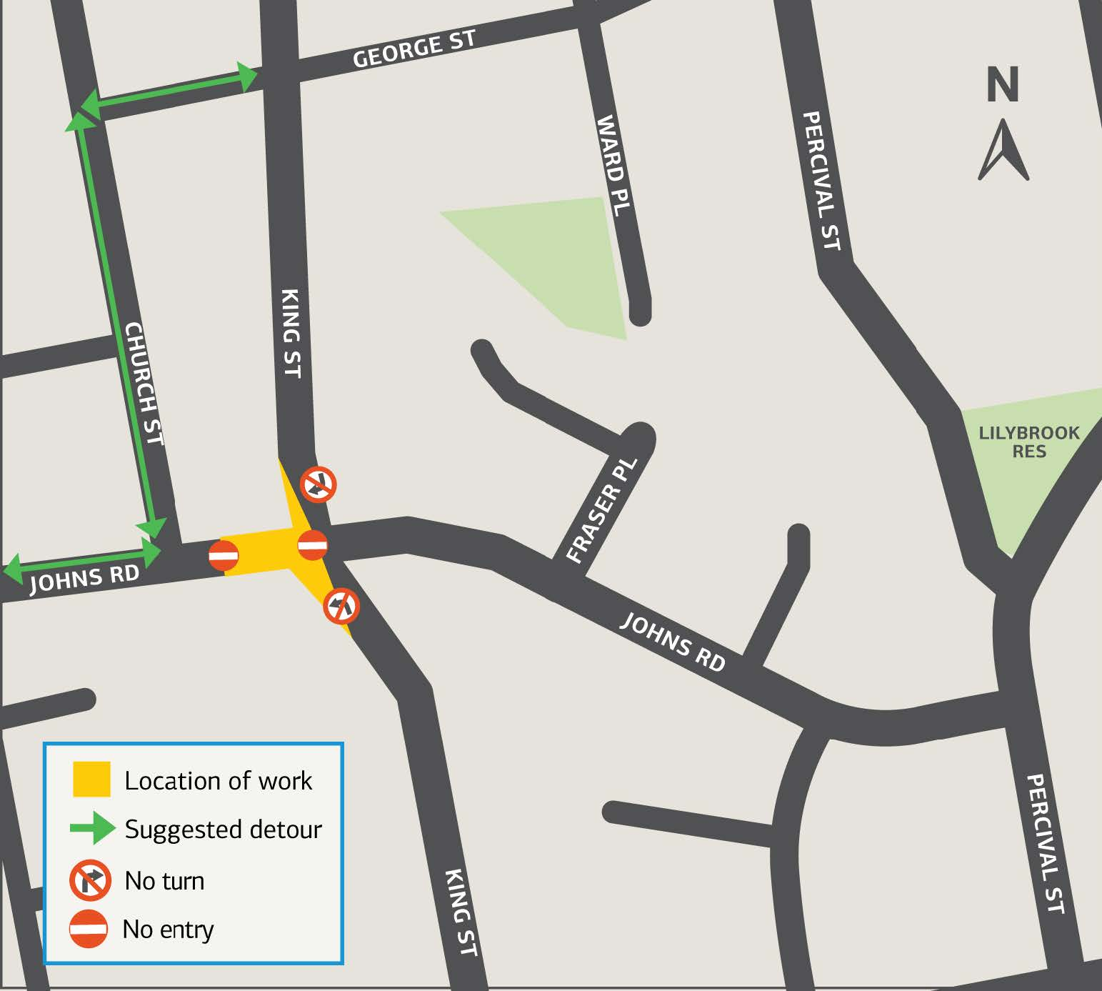 Detour route for stage three of sewer works