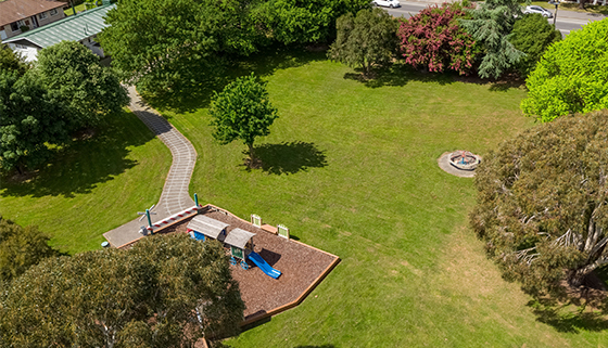 An aerial view of Owen Stalker Park